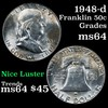 1948-d Franklin Half Dollar 50c Grades Choice Unc
