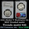 NGC 1946-s BTW Old Commem Half Dollar 50c Graded ms64 By NGC