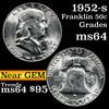 1952-s Franklin Half Dollar 50c Grades Choice Unc