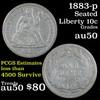 1883-p Seated Liberty Dime 10c Grades AU, Almost Unc