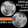 1922-p Peace Dollar $1 Grades Choice Unc