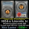 PCGS 1954-s Lincoln Cent 1c Graded ms66 RD By PCGS