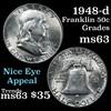 1948-d Franklin Half Dollar 50c Grades Select Unc