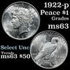 1922-p Peace Dollar $1 Grades Select Unc