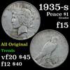1935-s Peace Dollar $1 Grades f+