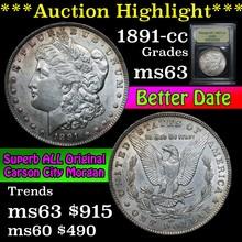 1891-cc Morgan Dollar $1 Graded Select Unc by USCG