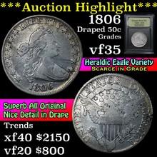 1806 Draped Bust Half Dollar 50c Graded vf++