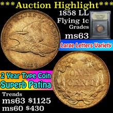 1858 LL Flying Eagle Cent 1c Select Unc USCG