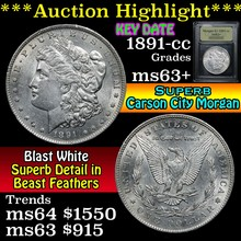 1891-cc Morgan Dollar $1 Graded Select+ Unc USCG