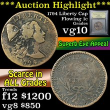 1794 Flowing Hair large cent 1c Graded vg+ By USCG