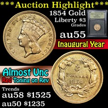 1854 Gold Liberty $3 Graded Choice AU By USCG (fc)