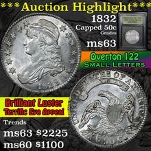1832, 0-122 Sm Let Capped Bust Half Dollar 50c