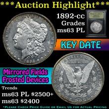 1892-cc Morgan Dollar $1 Graded Select Unc PL USCG