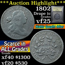 1802 Draped Bust Large Cent 1c Graded vf+ By USCG