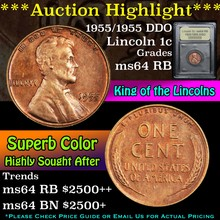1955/1955 DDO Lincoln Cent 1c Graded Choice Unc RB