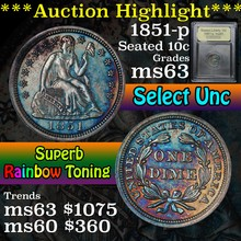 1851-p Rainbow toned Seated Liberty Dime 10c