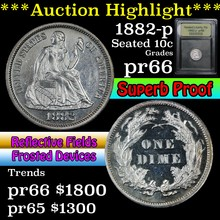 1882-p Seated Liberty Dime 10c Graded GEM+ Proof
