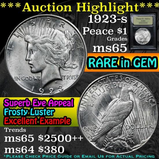 ***Auction Highlight*** 1923-s Peace Dollar $1 Graded GEM Unc By USCG (fc)