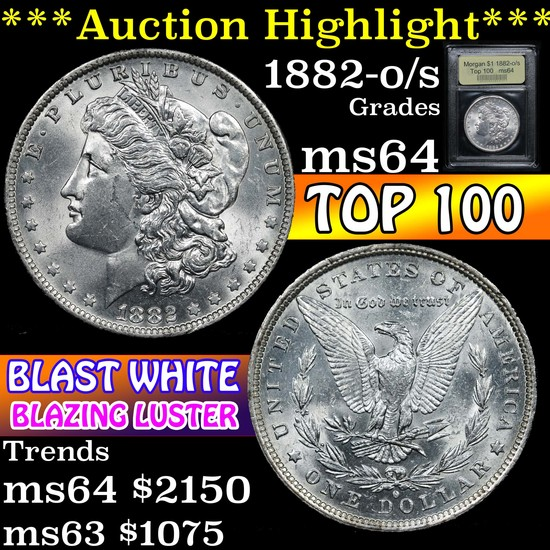 ***Auction Highlight*** 1882-o/s Top 100 Morgan Dollar $1 Graded Choice Unc By USCG (fc)