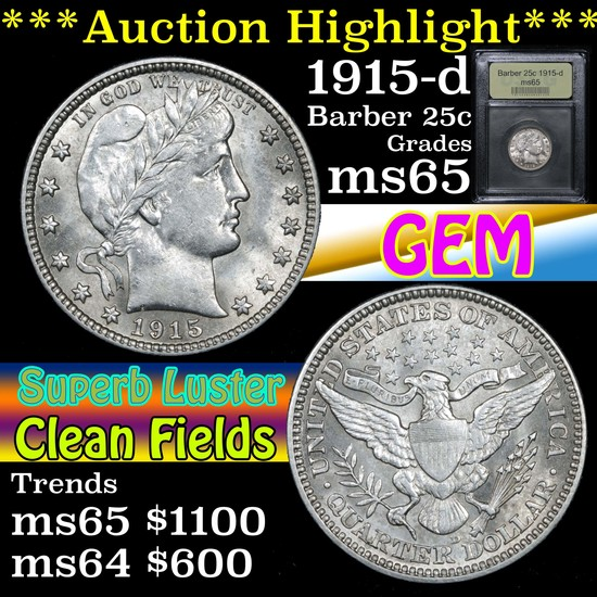 ***Auction Highlight*** 1915-d Barber Quarter 25c Graded GEM Unc By USCG (fc)
