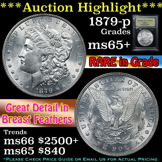 ***Auction Highlight*** 1879-p Morgan Dollar $1 Graded GEM+ Unc By USCG (fc)
