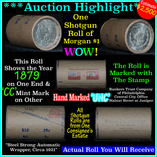 *Auction Highlight* Incredible Find, Uncirculated Morgan $1 Shotgun Roll w/1879 & cc mint ends  (fc)
