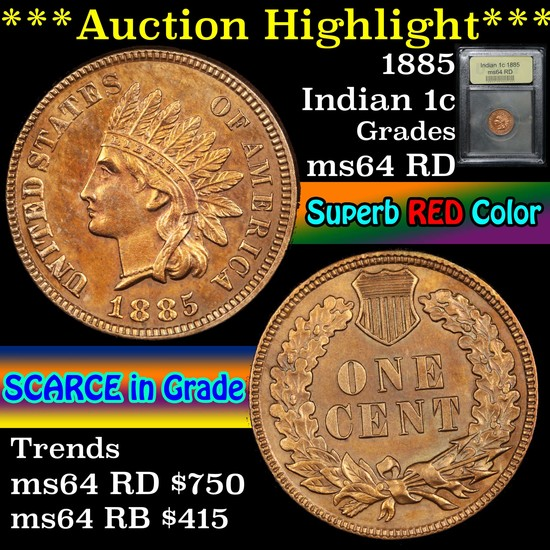 ***Auction Highlight*** 1885 Indian Cent 1c Graded Choice Unc RD By USCG (fc)
