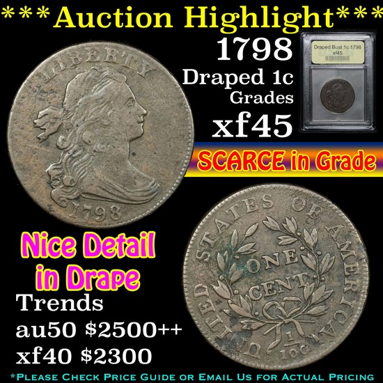 ***Auction Highlight*** 1798 Draped Bust Large Cent 1c Graded xf+ By USCG (fc)