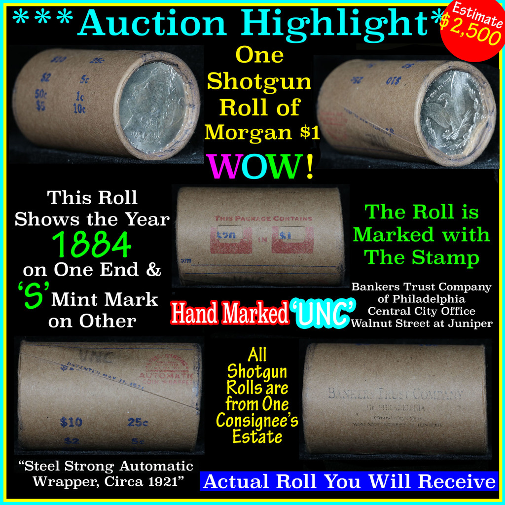 *Auction Highlight* Incredible Find, Uncirculated Morgan $1 Shotgun Roll w/1884 & 's' mint end  (fc)