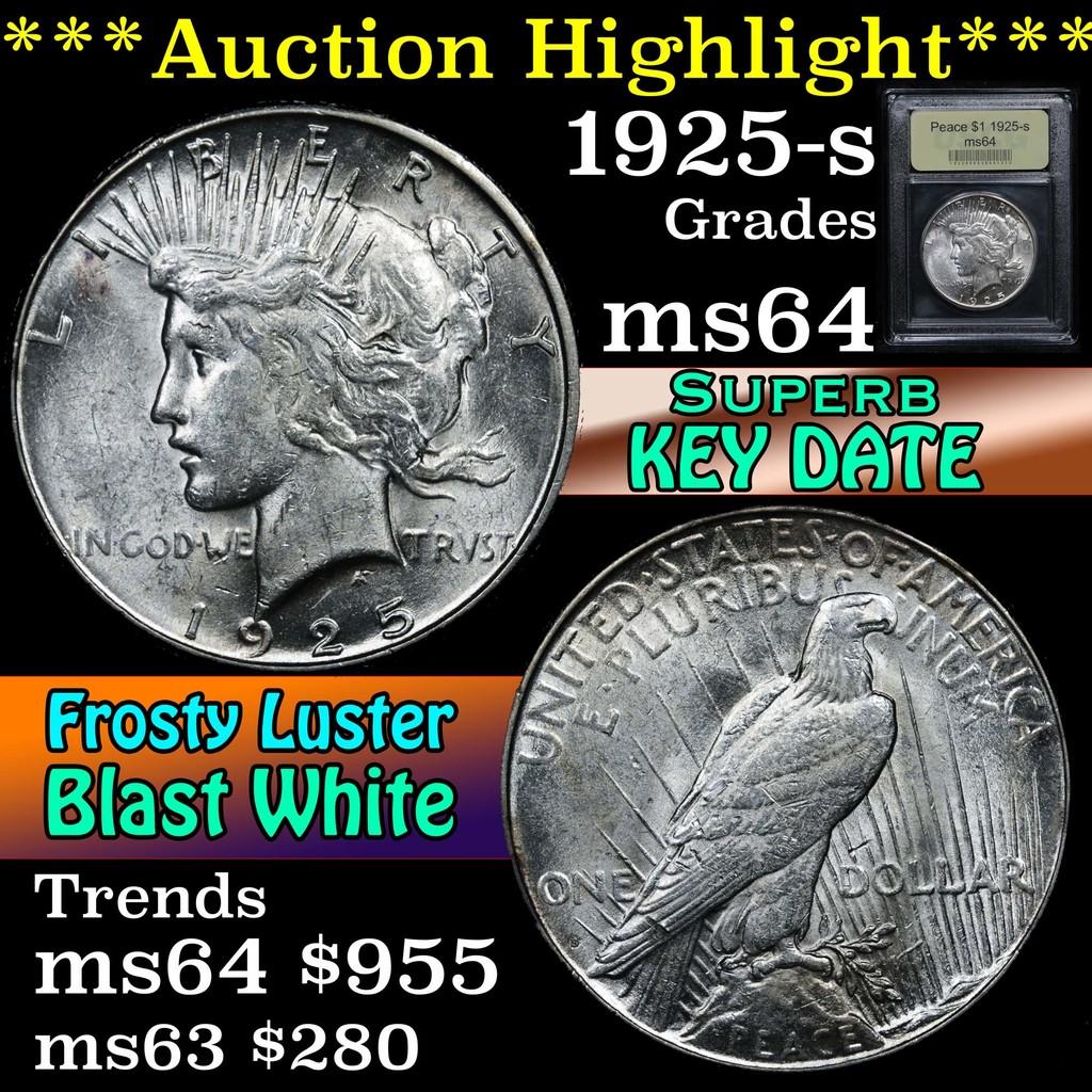 ***Auction Highlight*** 1925-s Peace Dollar $1 Graded Choice Unc By USCG (fc)