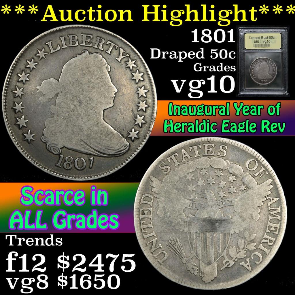 ***Auction Highlight*** 1801 Draped Bust Half Dollar 50c Graded vg+ By USCG (fc)