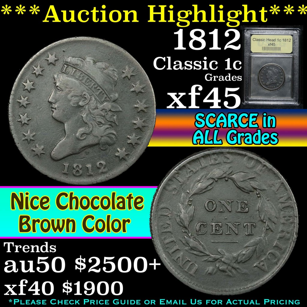 ***Auction Highlight*** 1812 Classic Head Large Cent 1c Graded xf+ By USCG (fc)