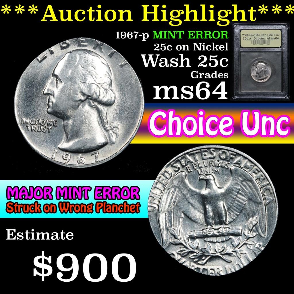 ***Auction Highlight*** 1967-p Major Mint Error 25c on Nickel planchet Graded Choice Unc USCG (fc)
