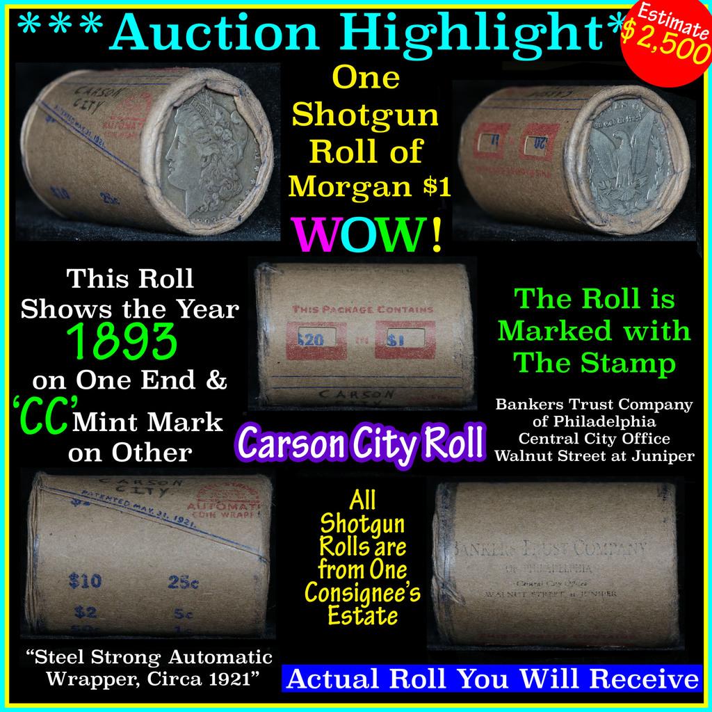 ***Auction Highlight*** All Carson City Morgan dollar roll ends 1893 & 'cc' (fc)