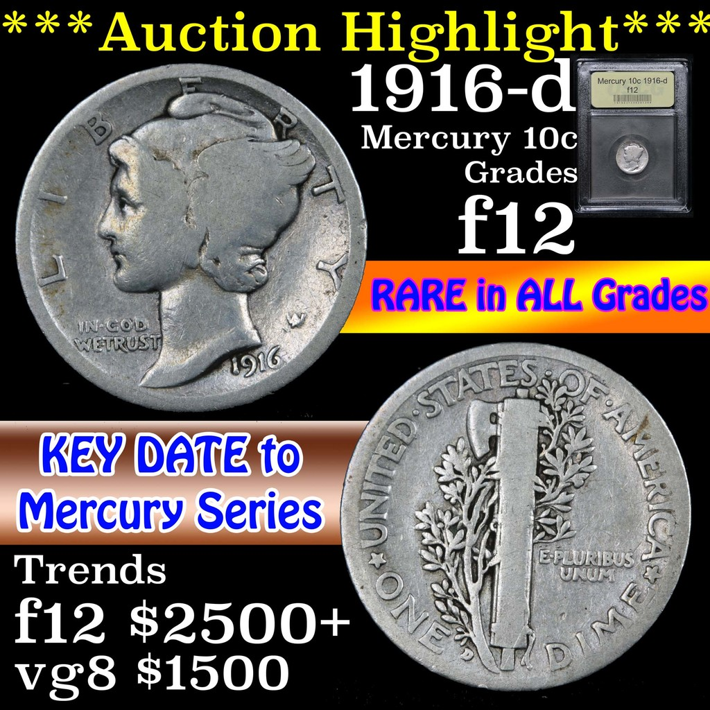 ***Auction Highlight*** 1916-d Mercury Dime 10c Graded f, fine By USCG (fc)