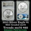 NGC 2013 Silver Eagle Dollar $1 Graded ms70 By NGC
