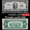 1953 $2 Red Seal United States Note Grades Choice AU/CU Slider