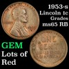 1953-s Lincoln Cent 1c Grades GEM Unc RB