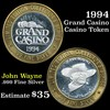 Casino Token with .6 Oz. of Silver in the center 1994 Grand Casino Silver Casino Token