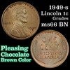 1949-s Lincoln Cent 1c Grades GEM+ Unc BN