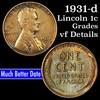 1931-d Lincoln Cent 1c Grades vf details