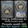 PCGS 1950-p Jefferson Nickel 5c Graded ms65 By PCGS
