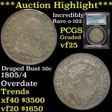 1805/4 Draped Bust Half Dollar 50c Graded vf25