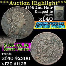1798 2nd Hair S-166, R-3 Draped Bust Large Cent