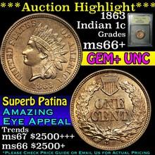1863 Indian Cent 1c Graded GEM++ Unc by USCG (fc)