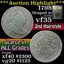 1798 Draped Bust Large Cent 1c Graded vf++ by USCG