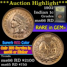 1902 Indian Cent 1c Graded GEM+ Unc RD By USCG (fc
