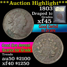 1803 Draped Bust Large Cent 1c Graded xf+ By USCG