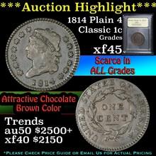 1814 Plain 4 Classic Head Large Cent 1c Graded xf+