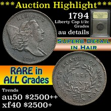 1794 Iberty Cap Half Cent 1/2c Graded AU Details